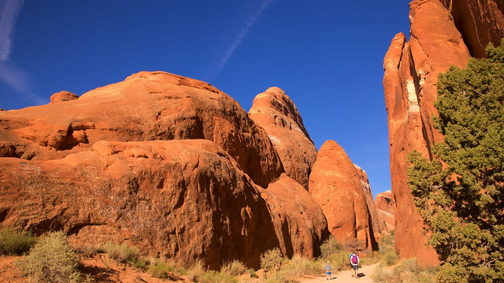 Moab showing hiking or walking and tranquil scenes as well as a small group of people