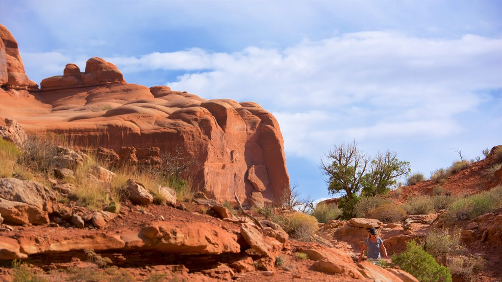 Moab which includes tranquil scenes and mountains as well as an individual femail