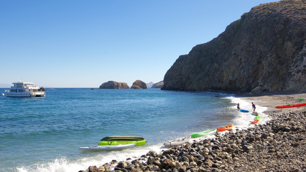 Channel Islands National Park showing kayaking or canoeing, rocky coastline and general coastal views