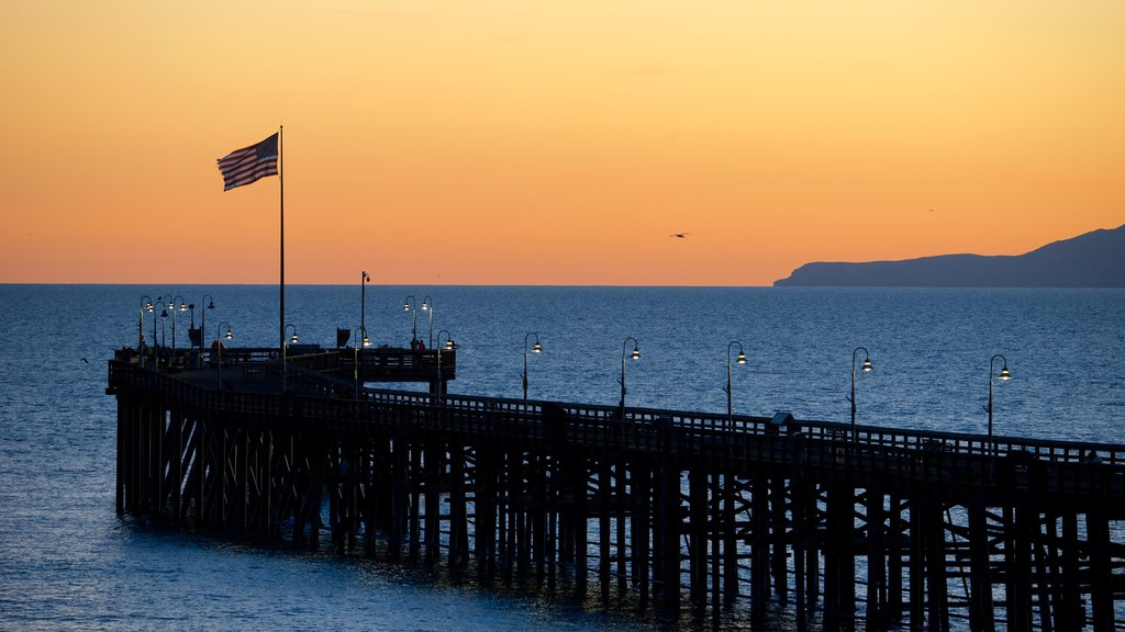 Ventura Pier which includes general coastal views, landscape views and a sunset
