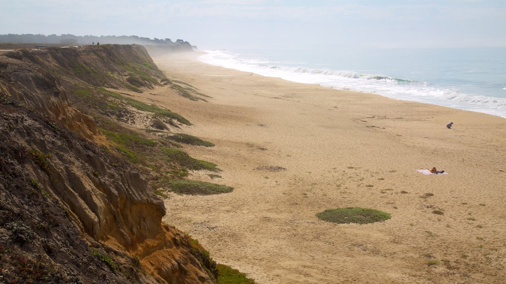 Half Moon Bay which includes a sandy beach and general coastal views