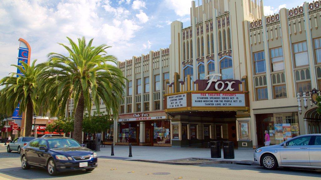 Redwood City mostrando señalización, una ciudad y escenas urbanas
