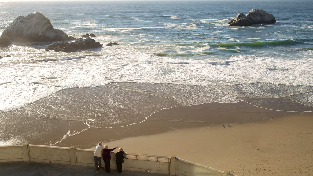Ocean Beach showing a sandy beach, landscape views and views