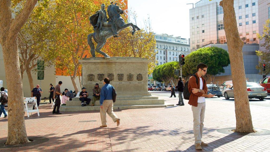 Civic Center caracterizando uma cidade, distrito comercial central e um monumento