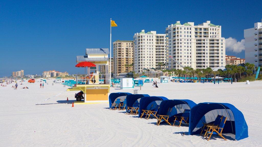 Clearwater Beach showing a city, a beach and a coastal town