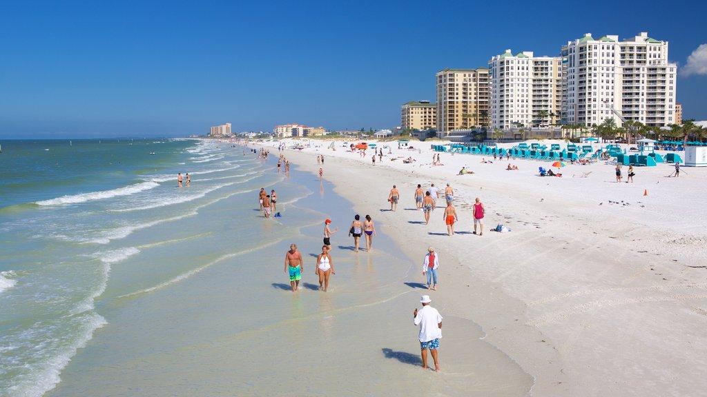 Clearwater Beach showing a beach and a coastal town