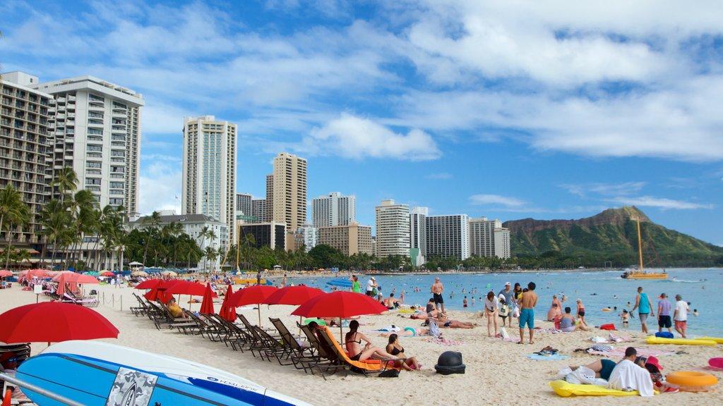 Waikiki Beach featuring a beach, a coastal town and general coastal views