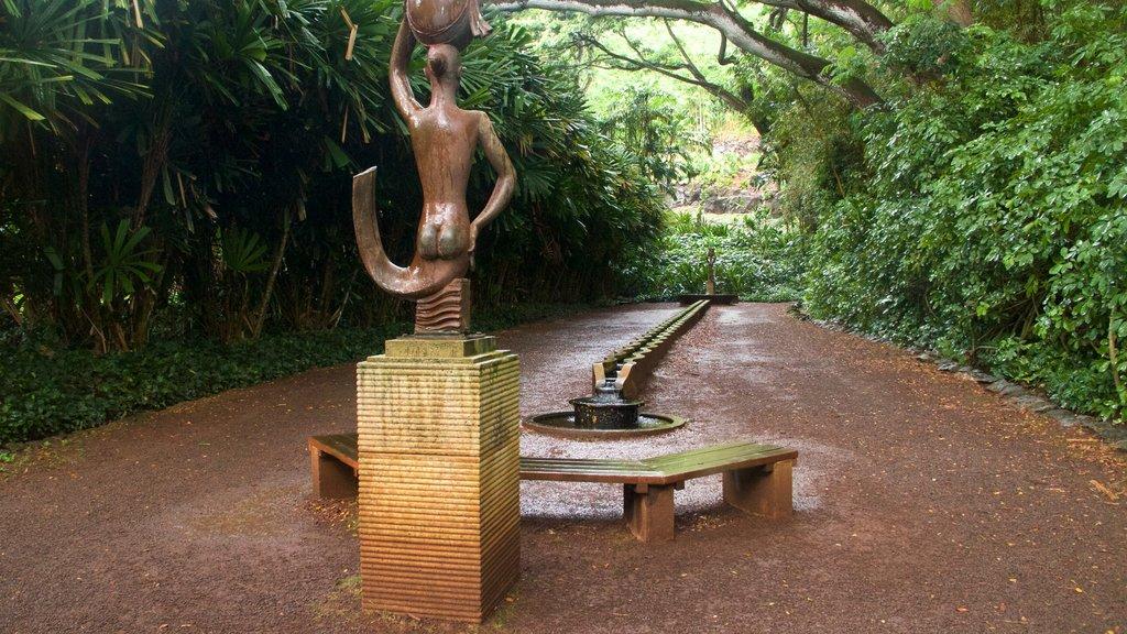 Allerton Botanical Garden showing a garden and a statue or sculpture