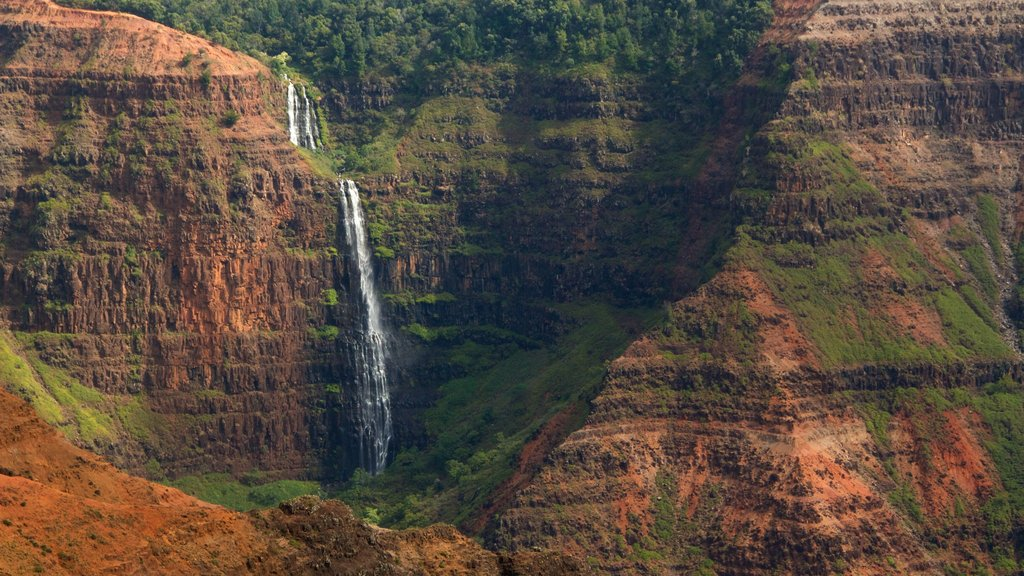 Waimea featuring a waterfall and a gorge or canyon