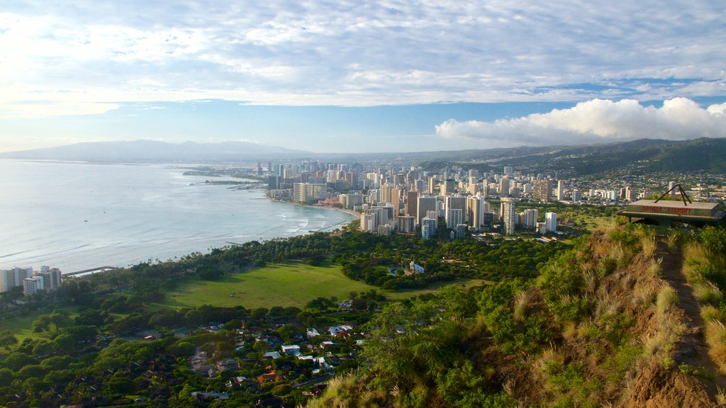 Diamond Head showing general coastal views, landscape views and a city