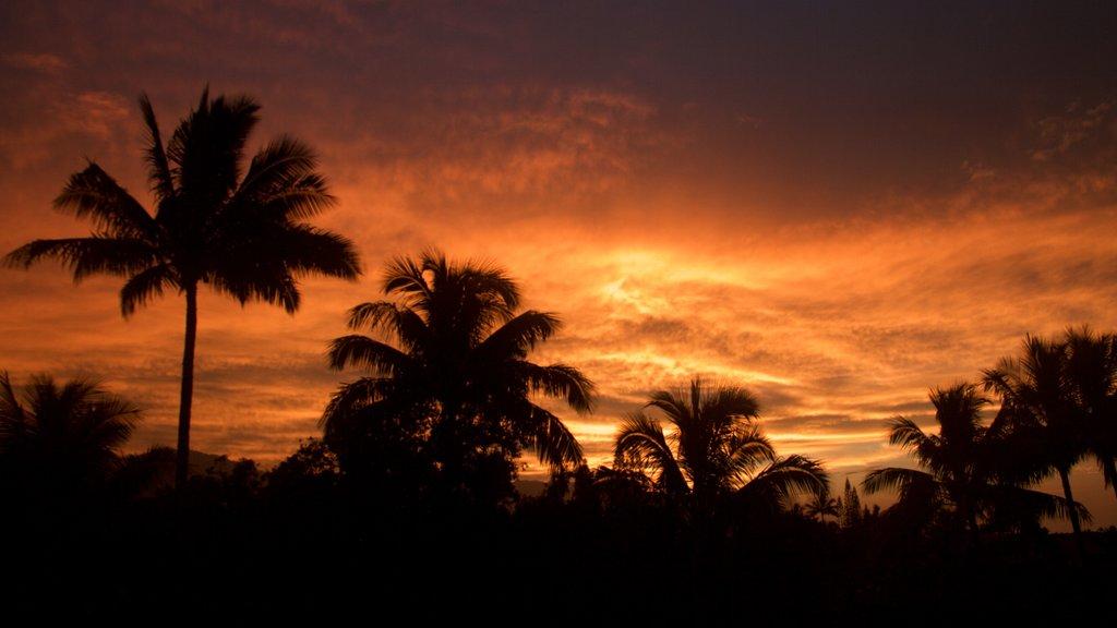 Princeville que incluye una puesta de sol