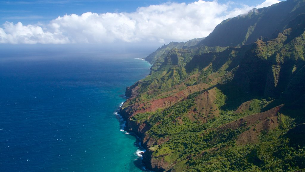 NaPali Coast State Park which includes mountains, general coastal views and a gorge or canyon