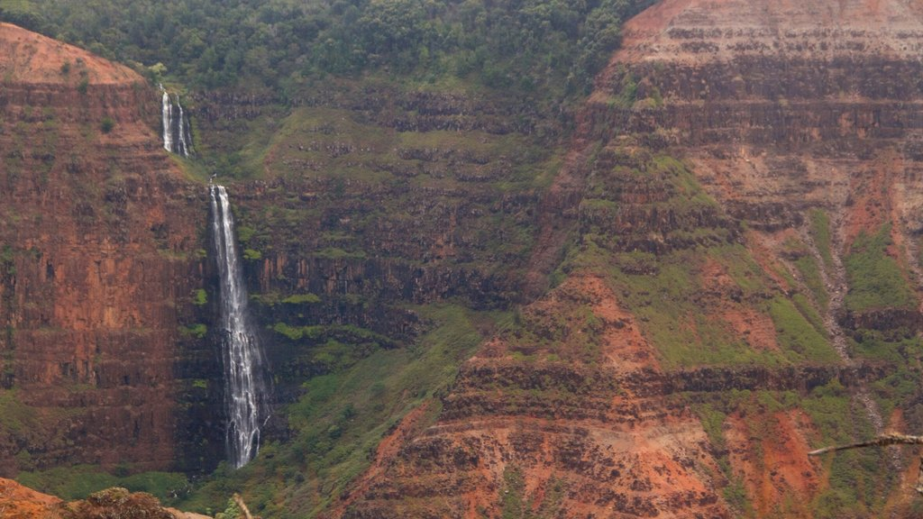 Waimea Canyon which includes a waterfall and a gorge or canyon