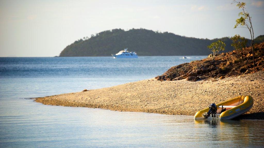 Hamilton que incluye una playa de guijarros, vistas generales de la costa y escenas tropicales