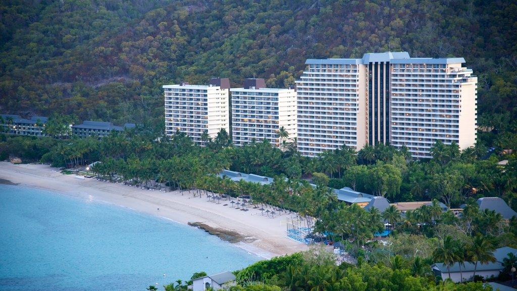 Playa Catseye que incluye un hotel o resort de lujo, una ciudad costera y una playa de arena