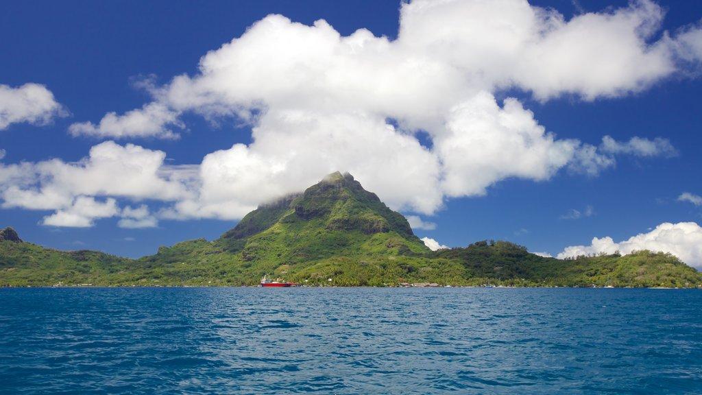 Bora Bora que incluye vistas de paisajes, vistas generales de la costa y escenas tropicales