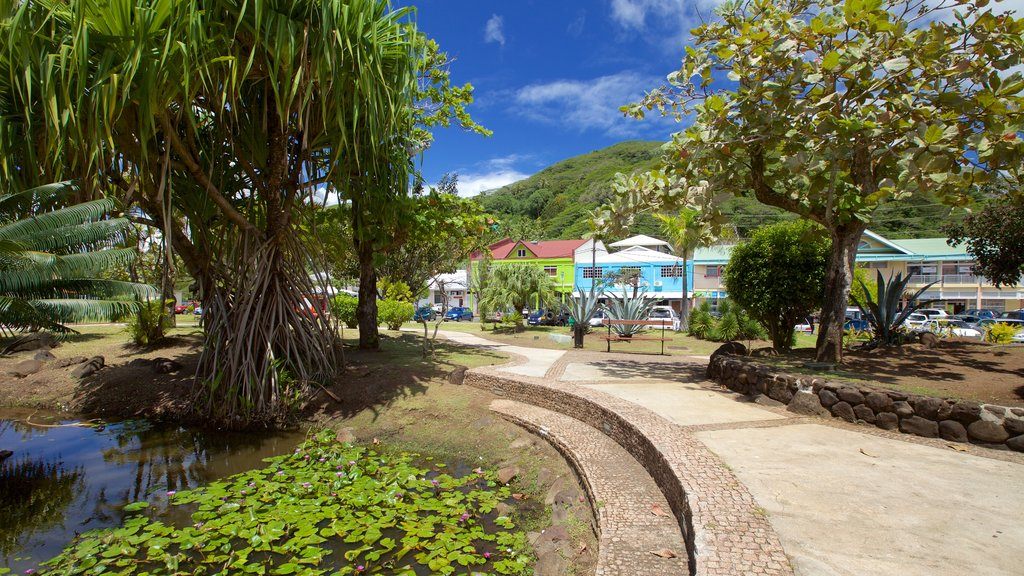 Raiatea showing a coastal town, a pond and a small town or village