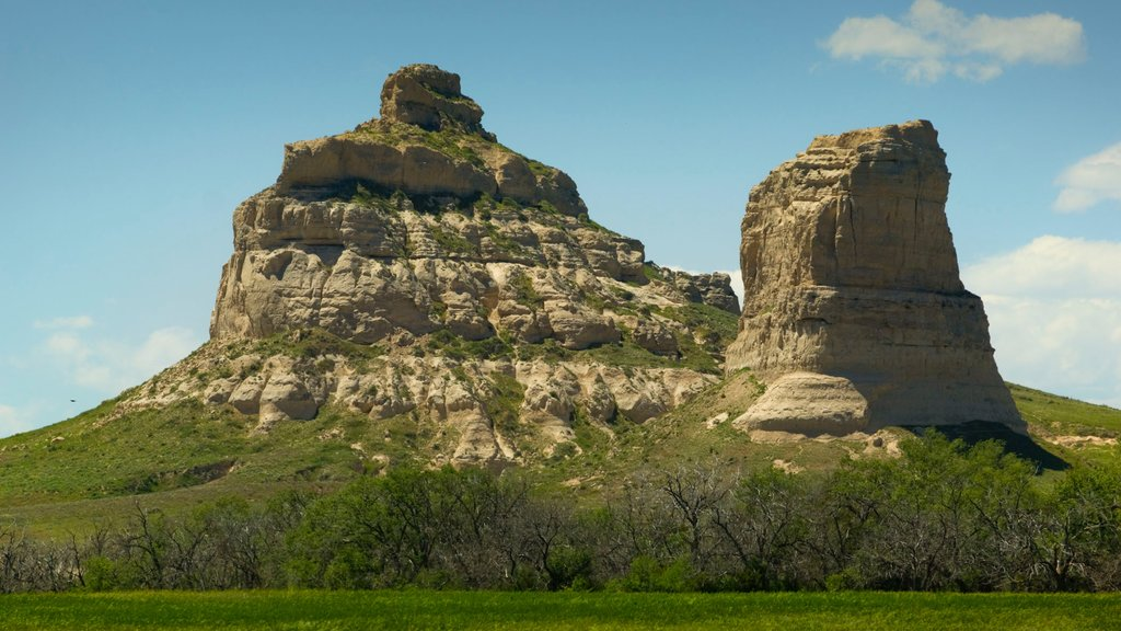 Courthouse and Jail Rocks which includes landscape views, a gorge or canyon and mountains