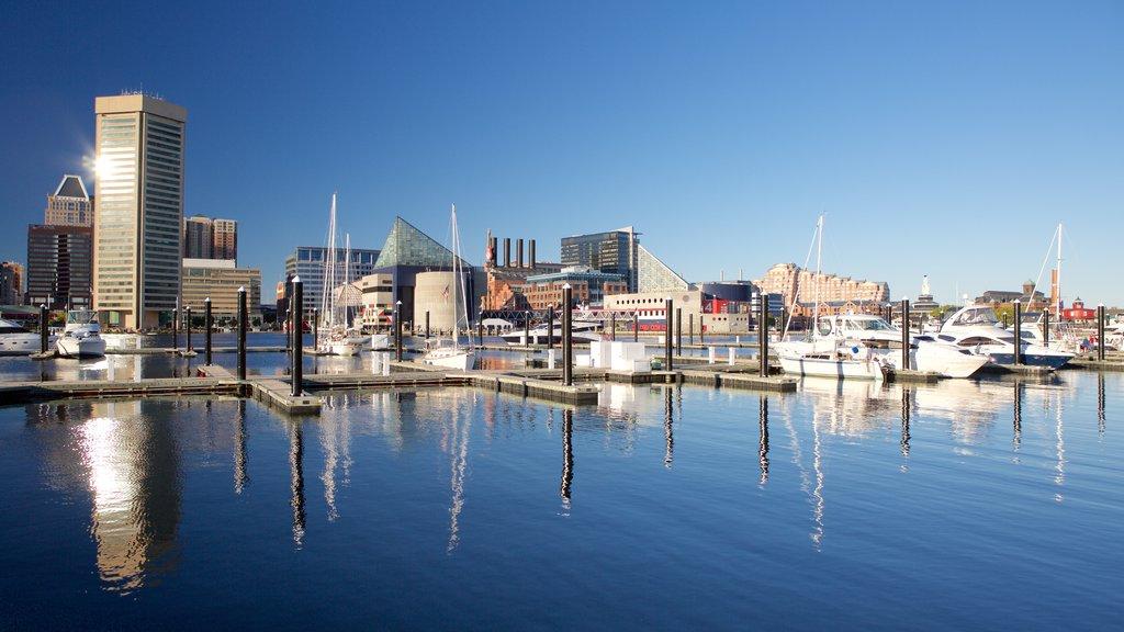 Baltimore Inner Harbor Marina featuring skyline, a marina and a city