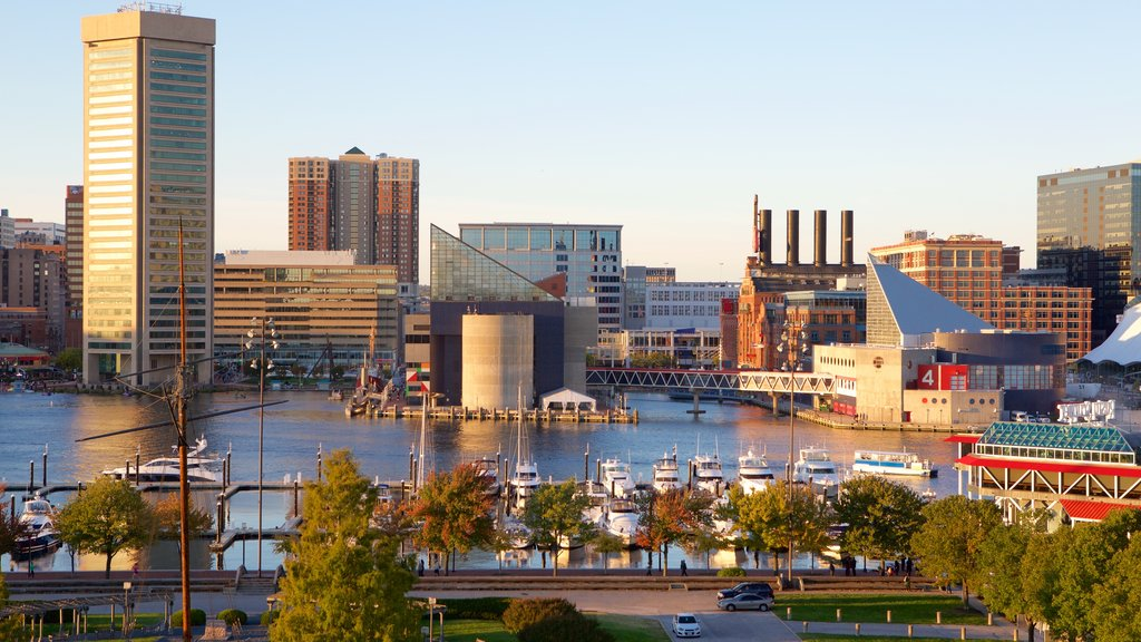 Baltimore featuring a marina and a city