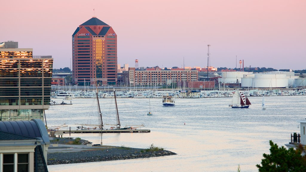 Baltimore which includes a city, a sunset and a marina