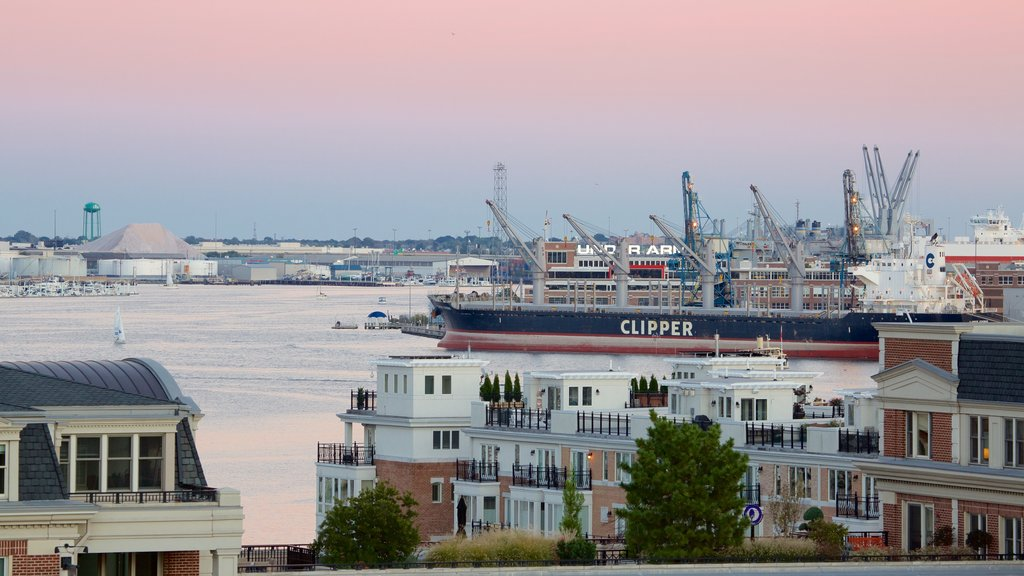 Baltimore which includes a city, a marina and a sunset