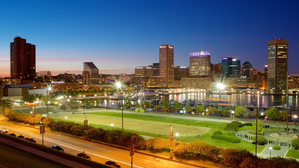 Baltimore featuring night scenes, a garden and skyline