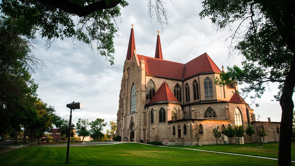 Cathedral of St. Helena featuring a church or cathedral, heritage architecture and a garden