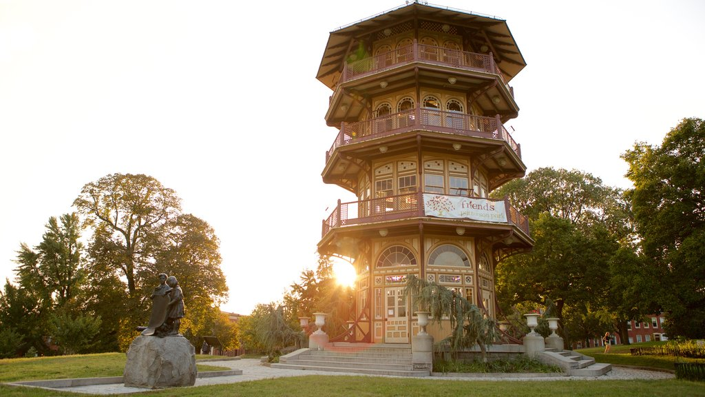 Patterson Park featuring a garden and heritage architecture