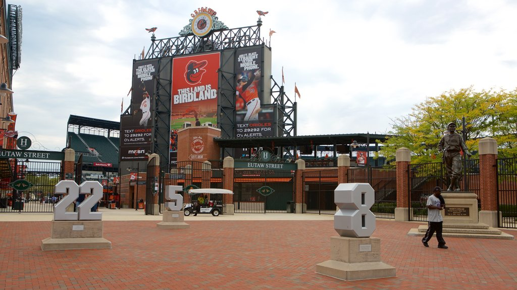 Oriole Park at Camden Yards which includes a monument and a statue or sculpture