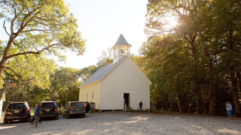 Cades Cove que incluye una iglesia o catedral y patrimonio de arquitectura