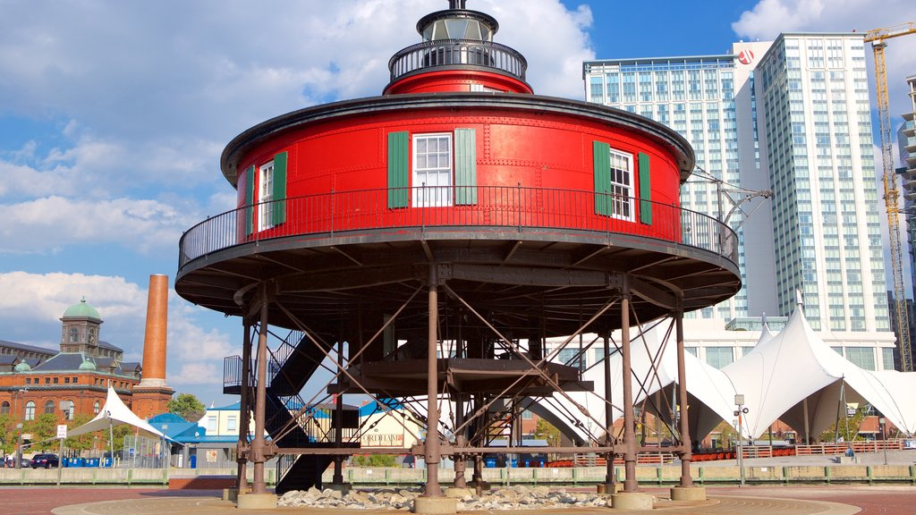 Seven Foot Knoll Light showing a city and a lighthouse