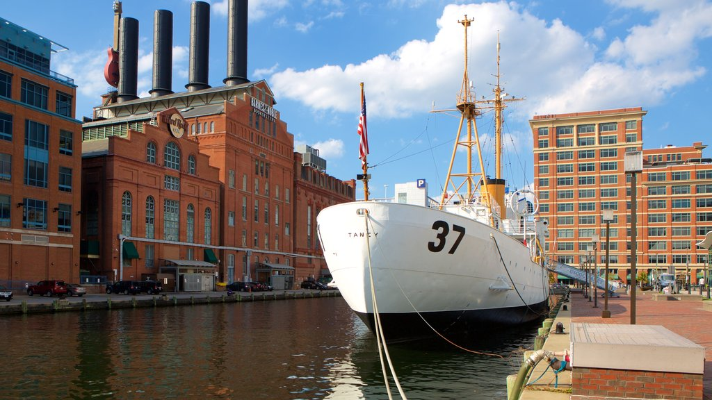 USCGC Taney which includes heritage architecture and a marina