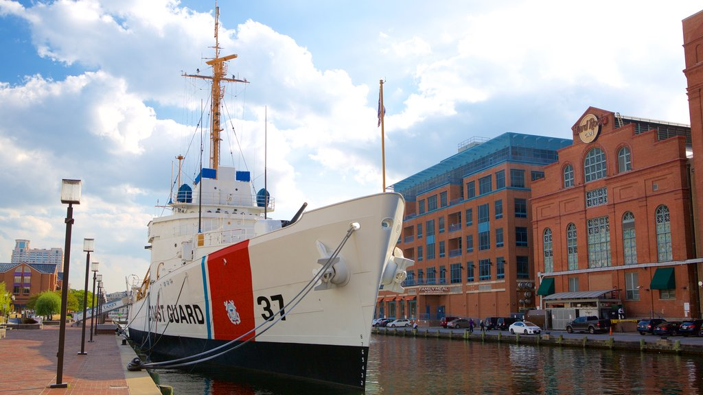 USCGC Taney showing heritage architecture and a marina