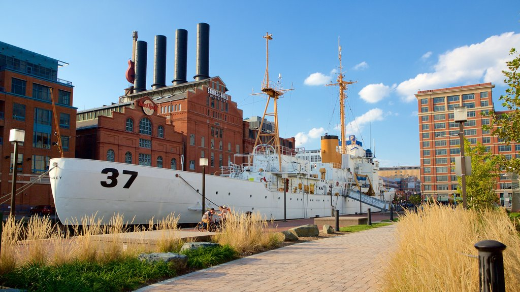 USCGC Taney which includes a marina and heritage architecture