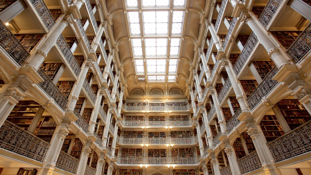 Peabody Institute of the John Hopkins University which includes heritage architecture, heritage elements and interior views