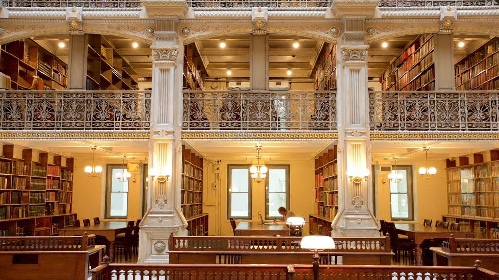 Peabody Institute of the John Hopkins University showing heritage elements, interior views and heritage architecture