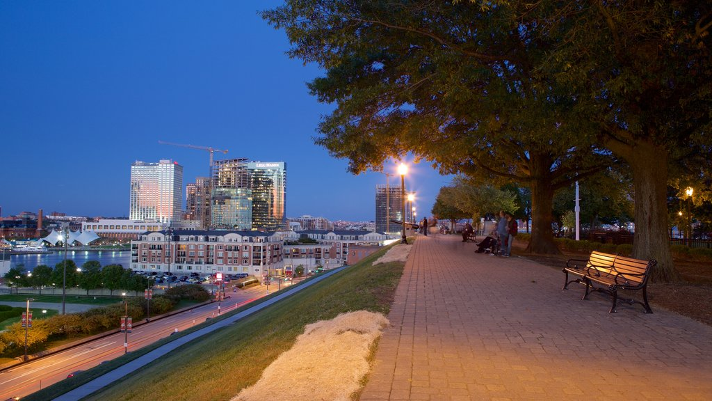 Federal Hill Park showing night scenes and a city