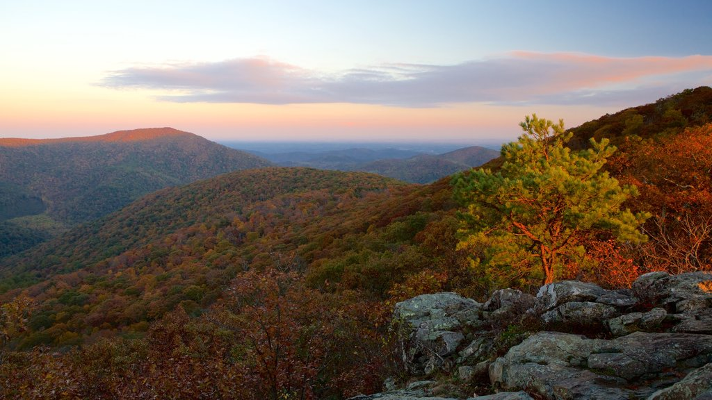 Bearfence Mountain which includes tranquil scenes, landscape views and a sunset