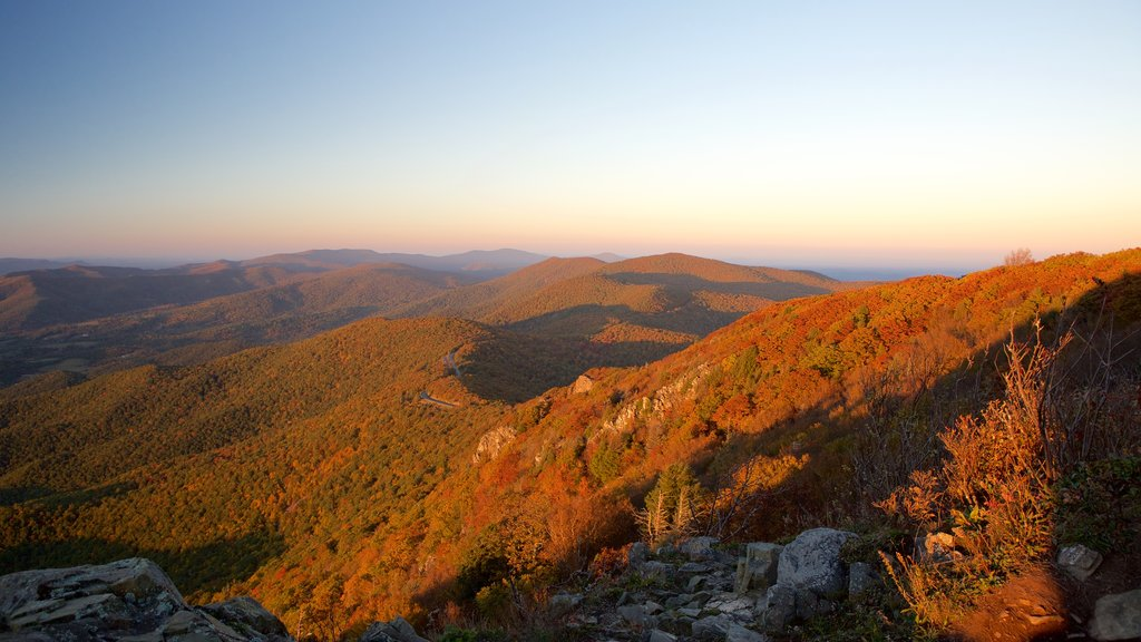 Shenandoah National Park which includes a sunset and mountains