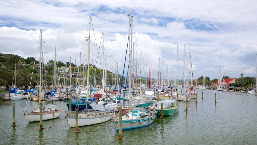 Whangarei showing a bay or harbor, a marina and sailing