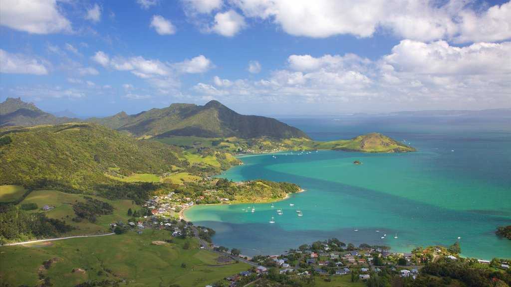 Mount Manaia featuring a bay or harbor, a coastal town and mountains