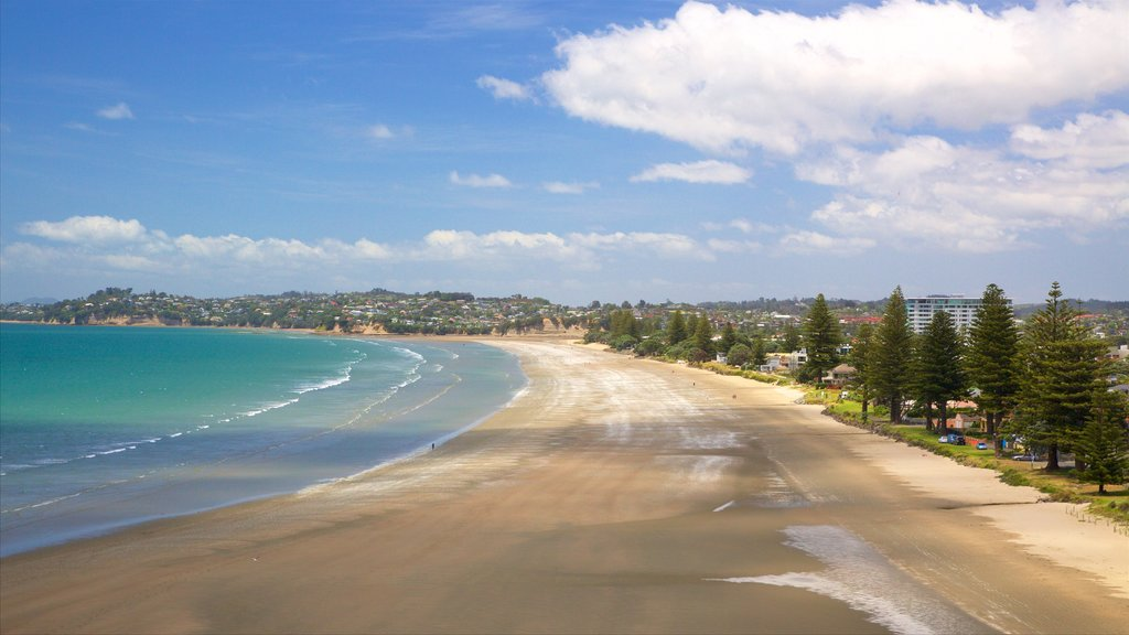 Orewa featuring a bay or harbor and a beach