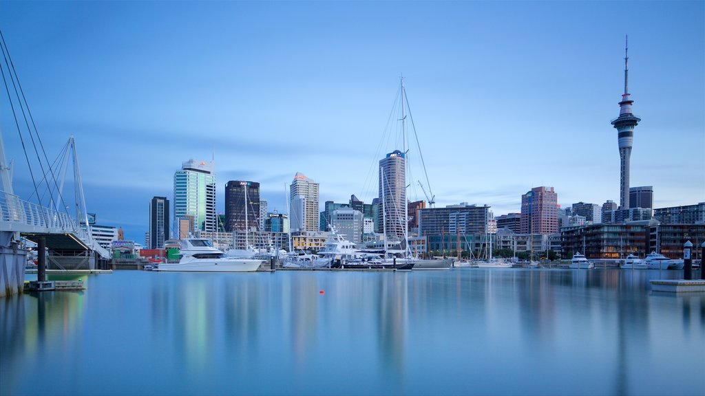 Auckland showing a marina, a sunset and a city