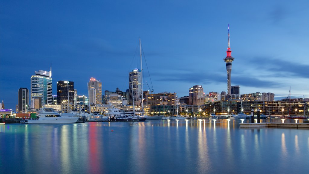 Auckland which includes night scenes, a bay or harbor and a marina