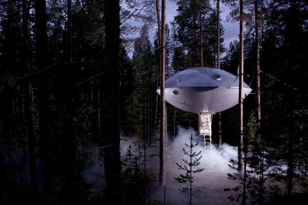 ufo shaped accommodation at treehotel, sweden