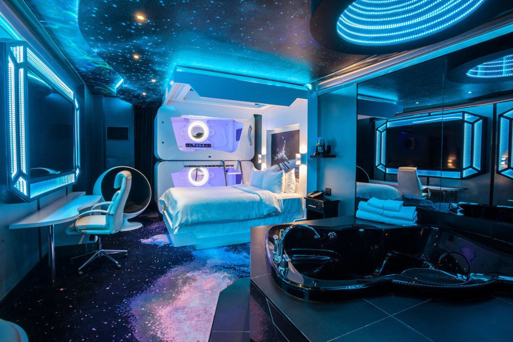 space themed hotel room at fantasy hotel, edmonton
