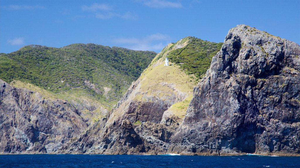 Cape Brett Lighthouse showing a lighthouse, a bay or harbor and rocky coastline