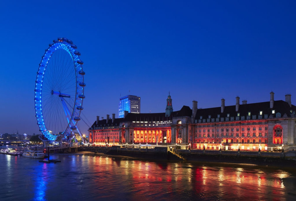night time view of the london eye and river from London Marriott Hotel County Hall