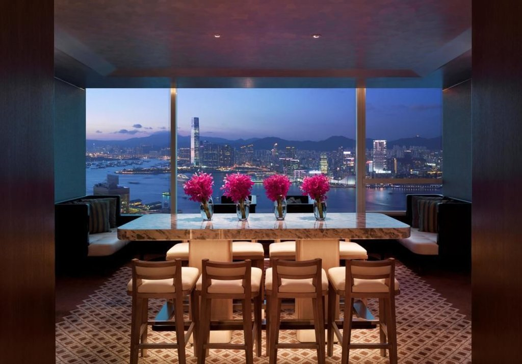 views of victoria harbour from a lounge area within the Conrad hotel, Hong Kong